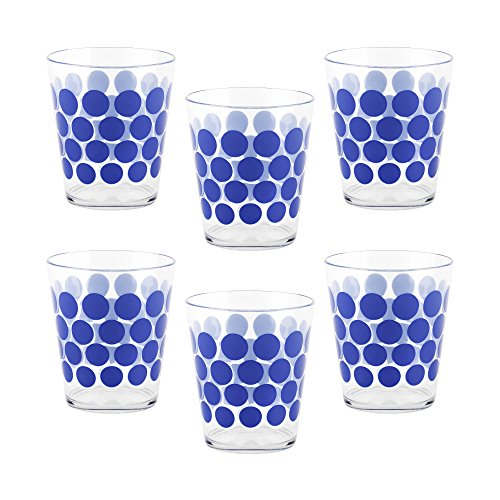 Zak Designs 6 Piece Dot Dot 15oz Durable Plastic Tumbler Set - Indoor and Outdoor Use, Blue ()