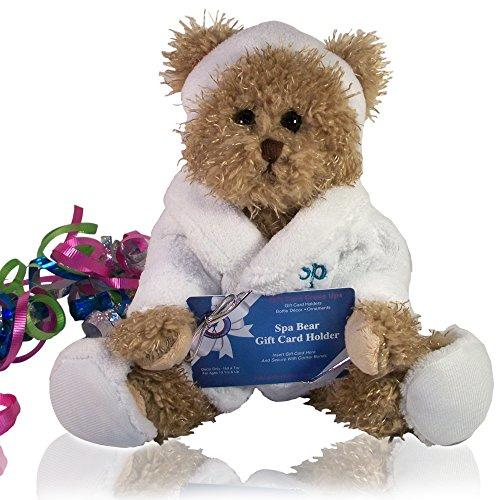 Stuffed Spa Bears-Gift Card Holder/Accessories & Money Holder for Birthday(10 inch Tan Spa Bear Gift Card Holder) … (Unique Gift Card Presentation)