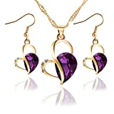 Exquisite Rhinestone Water Drop Love Heart Earrings Necklace Sets For Women Girls Wedding Jewelry (Purple)