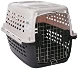Petmate 41033 Compass Plastic Pets Kennel with Chrome Door, Metallic White/Black
