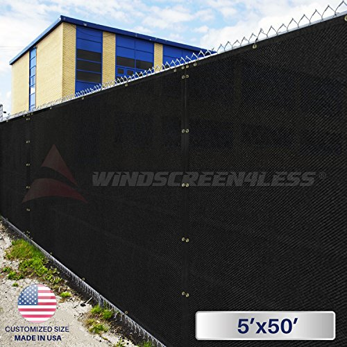 Windscreen4less Heavy Duty Privacy Screen Fence in Color Solid Black 5' x 50' Brass Grommets w/3-Year Warranty 130 GSM (Customized Sizes Available)