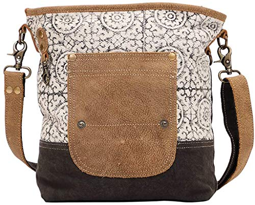 Myra Bag Pivot Upcycled Canvas & Leather Shoulder Bag S-1445