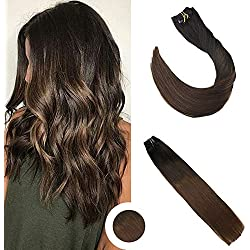 "Ugeat 20"" Clip In Remy Hair Extensions Silky Straight Balayage Colored Extensions Off Black #1B Fadig to Brown #4 Real Human Hair Clip Extensions 120 Gram 7Pcs Per Pack"