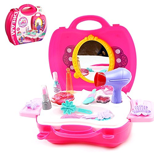 Mirror Kids Coordination (Pretend Play Makeup Kids Vanity Case Fashion Beauty Salon Set with Hair Dryer Mirror Scissors Hair Brush for Little Girls Toddler 21 Pcs)