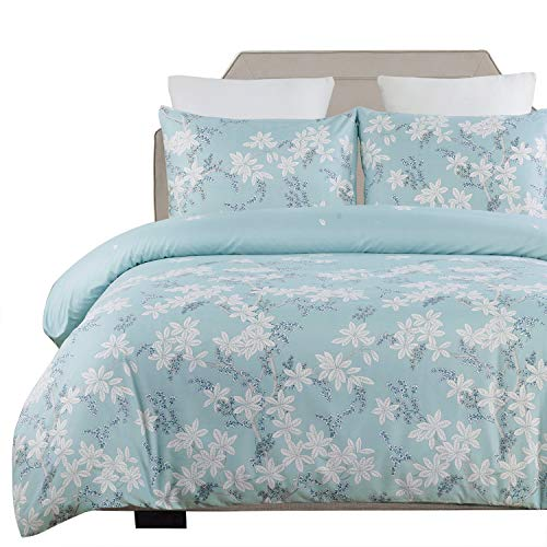 Vaulia Lightweight Microfiber Duvet Cover Set, Print Floral Pattern Design, Blue - Queen Size