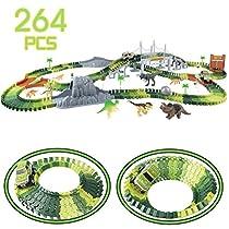 Coches de Dinosaurios Juguetes-264 Piezas Flexibles Cir...