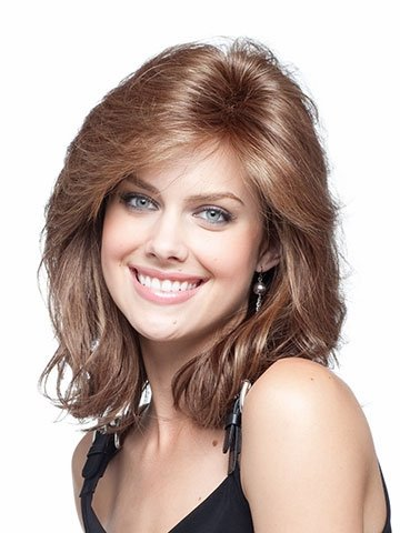 Price comparison product image Meier Women's Light Brown Medium Length Curly Wigs Natural Fluffy Wigs With Bangs