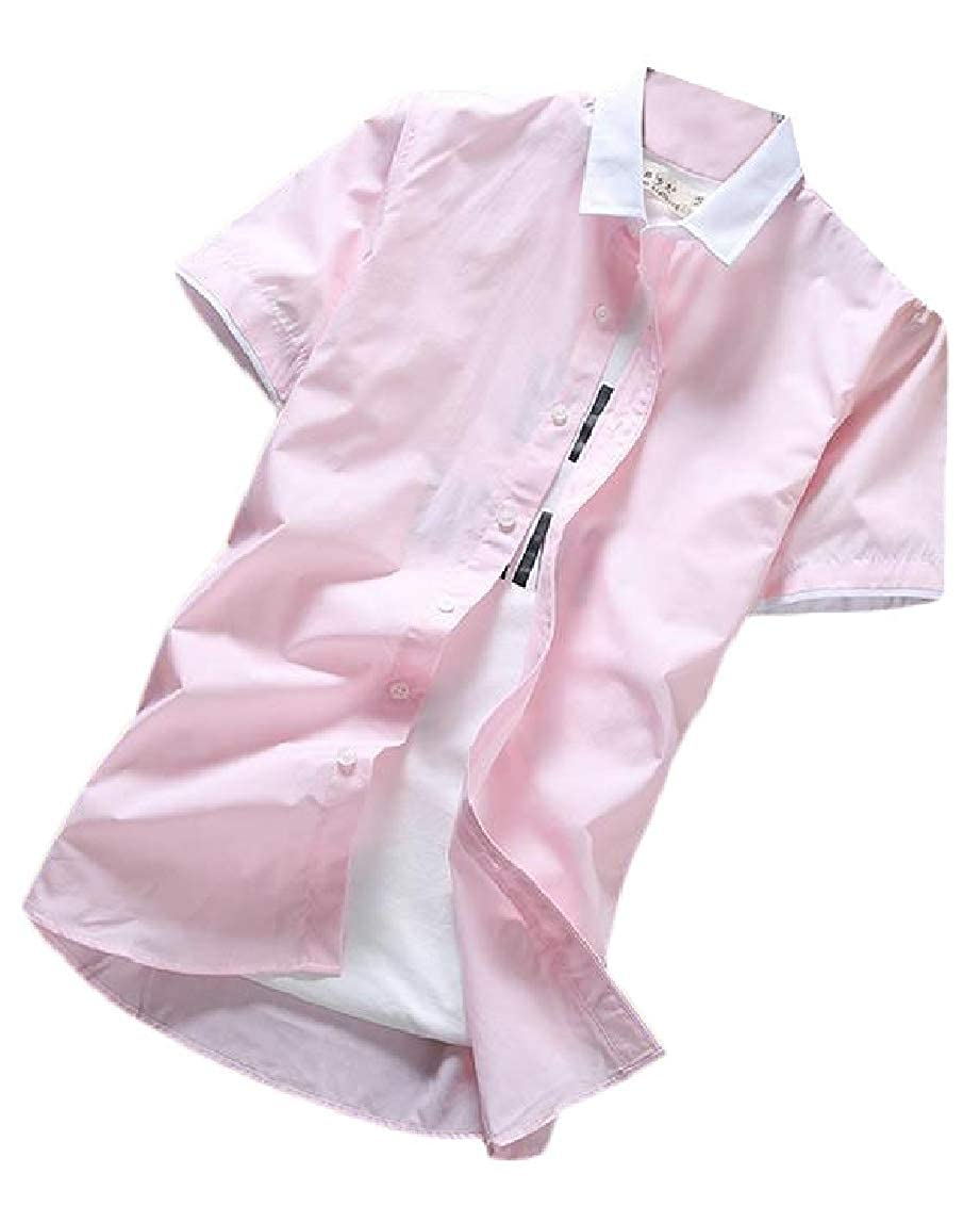 Hajotrawa Mens Color Block Solid Color Short Sleeve Button Down Summer Shirt