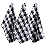 "black and white kitchen DII Cotton Buffalo Check Plaid Dish Towels, (20x30"", Set of 3) Monogrammable Oversized Kitchen Towels for Drying, Cleaning, Cooking, & Baking - Black & White"