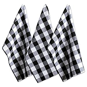 """DII Cotton Buffalo Check Plaid Dish Towels, (20x30"""", Set of 3) Monogrammable Oversized Kitchen Towels for Drying, Cleaning, Cooking, & Baking - Black & White"""