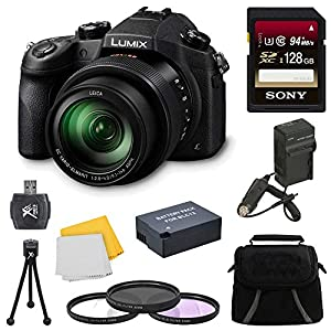 Panasonic LUMIX DMC-FZ1000 Digital Camera 128GB Accessory Bundle Includes: Lumix DMC-FZ1000 4K QFHD/HD 16X Long Zoom Digital Camera (Black), Carry Case, 128GB Memory Card, Spare BLC12 Battery, + More