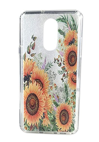 LG Stylo 4 Case, Ftonglogy Women Pattern Painting Clear Flower Design with Air Cushion Shockproof Bumper Nice Grip Girls Protective Case Cover for LG Stylo 4 (Sunflower)