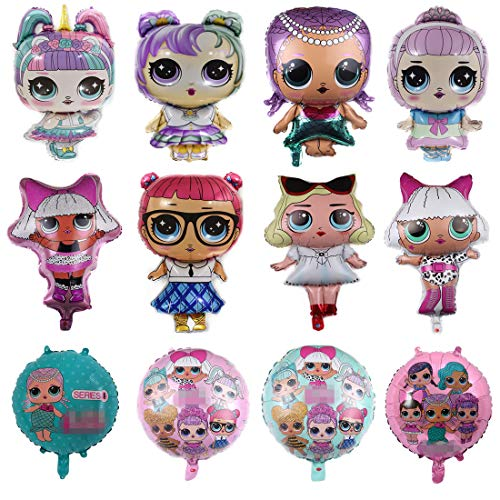 LOL Partys Balloons, 12 Pack Girls Birthday Doll Balloons Decorations For Childrens Party Supplies