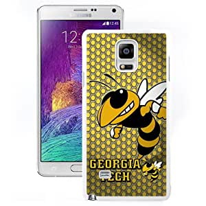 Fashion And Unique Samsung Galaxy Note 4 Cover Case NCAA Atlantic Coast Conference ACC Footballl Georgia Tech Yellow Jackets 2 Protective Cell Phone Hardshell Cover Case For Samsung Galaxy Note 4 N910A N910T N910P N910V N910R4 White Phone Case
