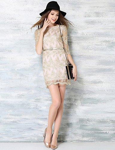 PU&PU Robe Aux femmes Lace Vintage,Jacquard Bateau Mini Polyester , beige-l , beige-l