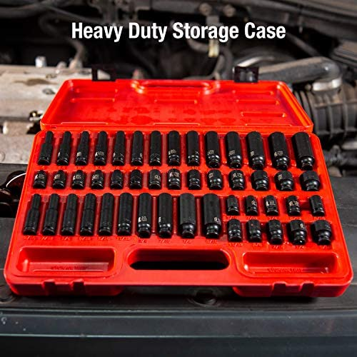Sunex 1848, 1/4 Inch Drive Master Impact Socket Set, 48-Piece, SAE/Metric, 3/16 Inch - 9/16 Inch, 4mm - 15mm, Standard/Deep, Cr-Mo Alloy Steel, Radius Corner Design, Heavy Duty Storage Case