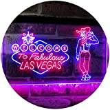 AdvpPro 2C Cowboy Welcome to Las Vegas Beer Bar Pub Display Dual Color LED Neon Sign Red & Blue 12'' x 8.5'' st6s32-i3005-rb