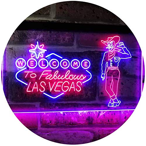 ADVPRO Cowboy Welcome to Las Vegas Beer Bar Pub Display Dual Color LED Neon Sign Red & Blue 16 x 12 Inches st6s43-i3005-rb
