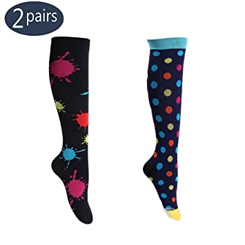 59e963d166 2 Pack Compression Socks Women 15-20 mmHg Support Stockings Plus Size for  Nurses Running