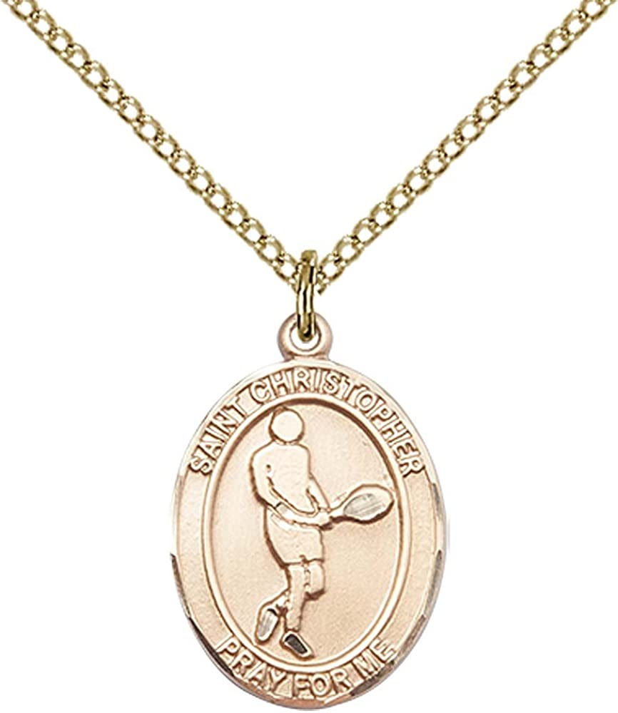 14kt Gold Filled St Patron Saint of Travelers//Motorists Christopher//Tennis Pendant with 18 Gold Filled Lite Curb Chain