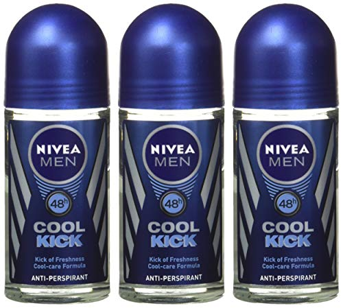 Nivea for Men Cool Kick 48 Hr. Anti-perspirant Roll-on Deodorant. 50 Ml (Pack of 3)