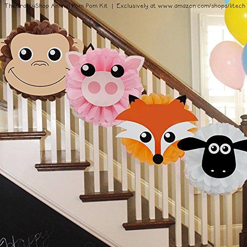 TheCraftyShop™ 12 Pieces Animal Tissue Paper Pom Pom Craft Kit for Birthday Party Celebration Baby Shower Decoration