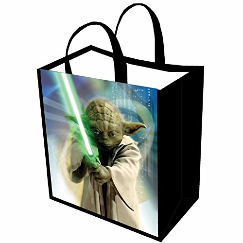 Unisex-Adult Star Wars Reusable Shopping Tote Or Halloween Trick Or Treat Bag - Yoda Lightsaber (Yoda Costume Adults)