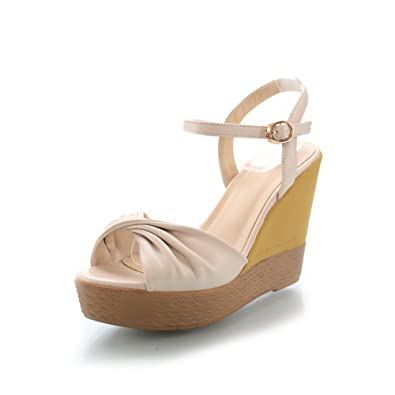 Womens Open Peep Toe High Heel Wedge Platform PU Soft Material Solid Sandals with Buckle