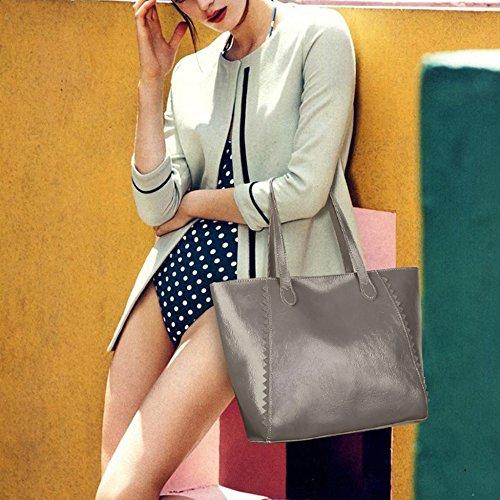Grey Para 30cm Y 14 red Bolsa Simple La Bolso Versátil Aceite Gran 30 Asas Mujer De Capacidad Moda Bolsas Laidaye nU0xwvq1HT