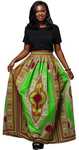 Women African Traditional Costume Ankara Print Skirt Dashiki Long Skirts (Small, A)