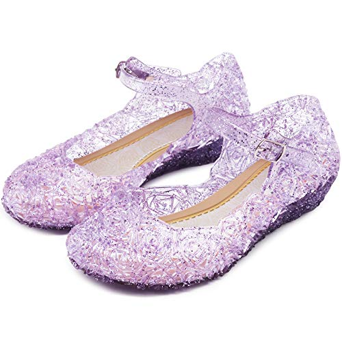 (Princess Girls Sandals Dress Up Dance Party Cosplay Jelly Shoes for Kids Toddler Mary Janes (12 M US Little Kid, Purple))