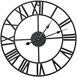 Sorbus Wall Clock, 16 Round Oversized Centurian Roman Numeral Style Home Décor Analog Metal Clock (Black)