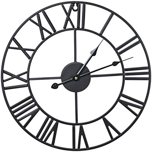 Sorbus Wall Clock, Round Oversized Centurian Roman Numeral Style Home Décor Analog Metal Clock
