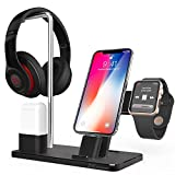Apple Watch Stand, ZVE Aluminum 4 in 1 Apple Watch Charging Stand Headphone Holder Stand Charging Dock for iPhone X 8 Plus 8 7 Plus 7 6S Plus 6, Apple Watch Series 3 2 1, AirPods, iPad, iPod- Black