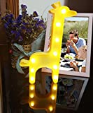 YYYux 3D Giraffe Marquee Light, Lighted Marquee Sign Lamp for Home, Restaurant, Hotel, Coffee Shop, Birthday and Romance Gift, Cute Decoration(Yellow, Battery Operated)