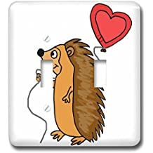 3dRose All Smiles Art Love - Funny Cool Hedgehog with Love Balloon Cartoon - Light Switch Covers - double toggle switch (lsp_265133_2)
