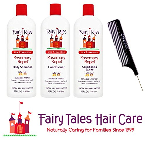 - Fairy Tales Rosemary Repel Shampoo, Conditioner, Conditioning Spray TRIO Set (with Sleek Steel Pin Tail Comb) (32 oz Liter Large TRIO Kit)