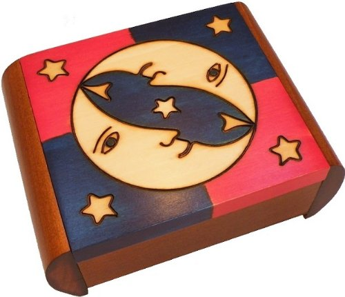 Moon & Stars Secret Puzzle Box Polish Wood Box Handmade Wooden Keepsake Linden Wood Jewelry Box by PolishArt