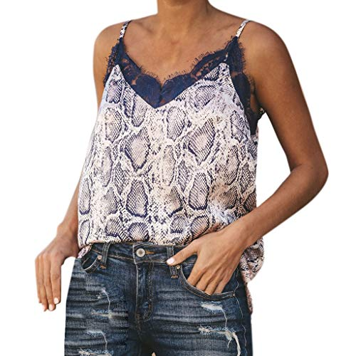 Womens Strappy Vest Top Sleeveless Plaid Print Casual Lace Tank Loose Shirt(2-Blue,L)