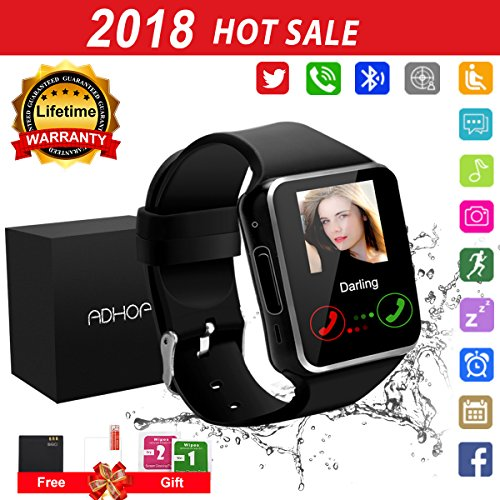 Bluetooth Smart Watch Touchscreen with Camera,Unlocked Watch Cell Phone with Sim Card Slot,Smart Wrist Watch,Waterproof Smartwatch Phone for Android Samsung IOS Iphone 7 6S Men Women Kids (black, XL)