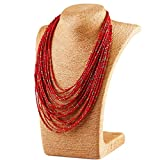 Mecoo Multicolor Bohemia Style Retro Strand Necklace Multilayer Drop Chain Necklace for Women (Red)