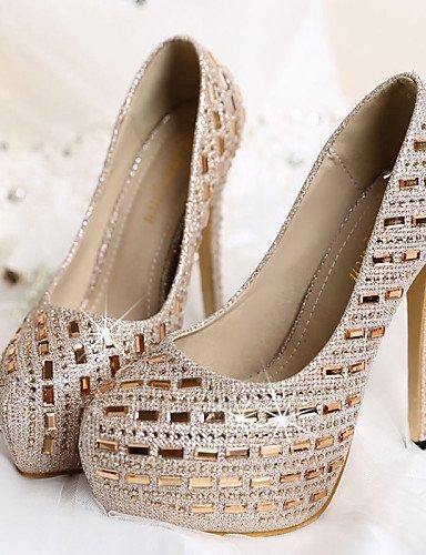 ShangYi Chaussures Femme - Mariage / Habillé / Soirée & Evénement - Blanc / Or - Talon Aiguille - A Plateau / Bout Arrondi - Talons - Similicuir golden JsOEvM