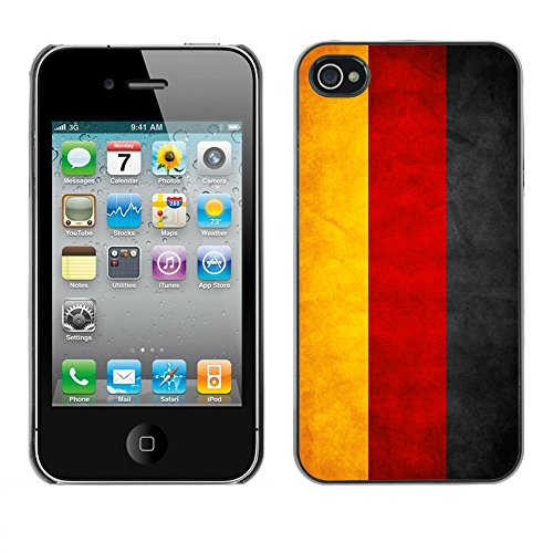 Omega Case PC Polycarbonate Cas Coque Drapeau - Apple iPhone 4 / 4S ( Germany Grunge Flag )