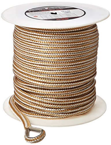 Extreme Max 3006.2270 BoatTector Premium Double Braid Nylon Anchor Line with Thimble, 1/2-Inch x 600-Feet, White/Gold