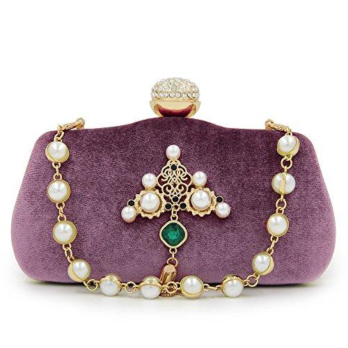 nozze da e di Decora perla da la sera sera Zaffiro donna da Borsa Pochette borsa Color da da sera Khaki Pochette donna da sposa da sera Purple Borsa nappe Borsa UYwxR