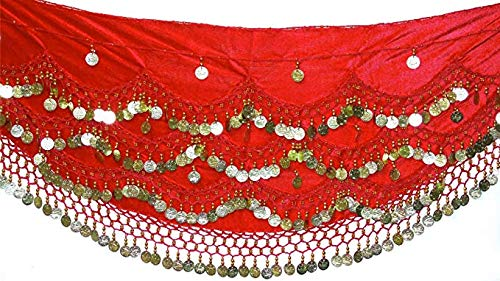 Velvet Belly Dance Hip Scarf Coin & Bead Belt Wrap UK FITS S M L XL to 4XL Plus Size (UK 8-24) (RED Silver, XL to 4XL Plus Size UK 18-22/24) ()