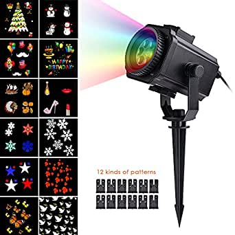 Yunt Festival Projector Lamp Landscape Spotlight 12 Film LED Outdoor Waterproof Lawn Snowflake Light Customized Patterns for Christmas Halloween