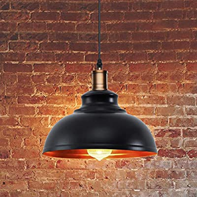 Pendant Lighting, Lika Industrial Vintage Black Hanging Ceiling Lamp with Metal Shade,Lighting Fixtures for Kitchen Island, Dining Room, Barn