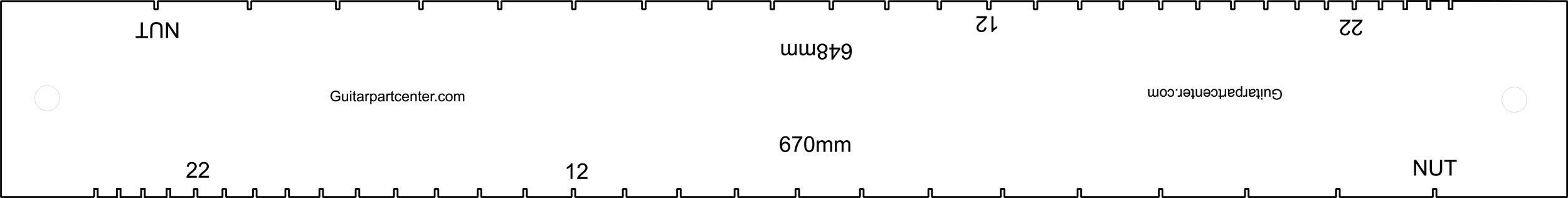 Dual Scal Fingerboard Slotting Template - 648mm & 670mm
