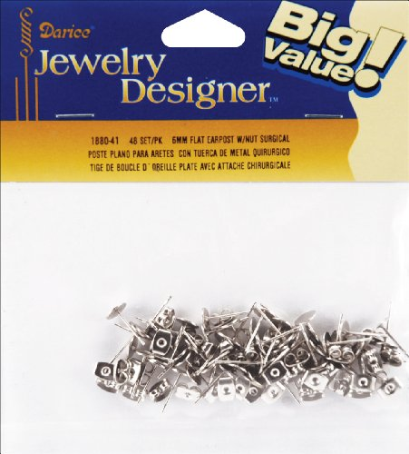 Flat Pad Earring Post & Butterfly Clutch 6mm 48/Pkg-Surgical Steel -